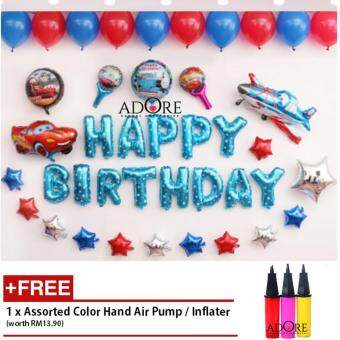 ADORE 40 pcs Happy Birthday Party Decoration Mylar Foil MembraneBalloon Set - Cars