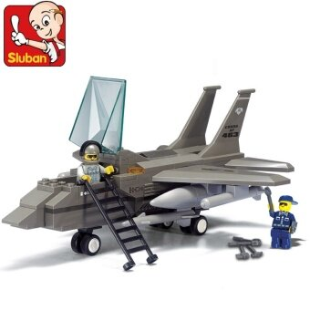 Air Force F15/142pcs forces fighter plane small Luban building blocks