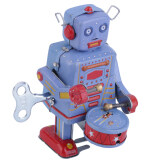 Jual Allwin Logam Vintage Tin Drum Biru Robot Mesin Jam Angin Tin Koleksi Mainan Not Specified Grosir