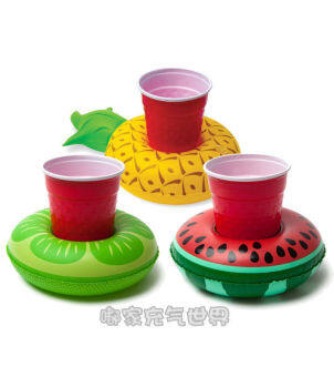 American big mouth Drinks swimming circle mini fruit shape cola drinks tray cupholders three loaded