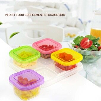 Harga Baby Food Storage Container, Baby Food Freezer Tray with Lid,4x120ML BPA Free, Perfect For Homemade Baby Food, Vegetable &Fruit Purees and Milk