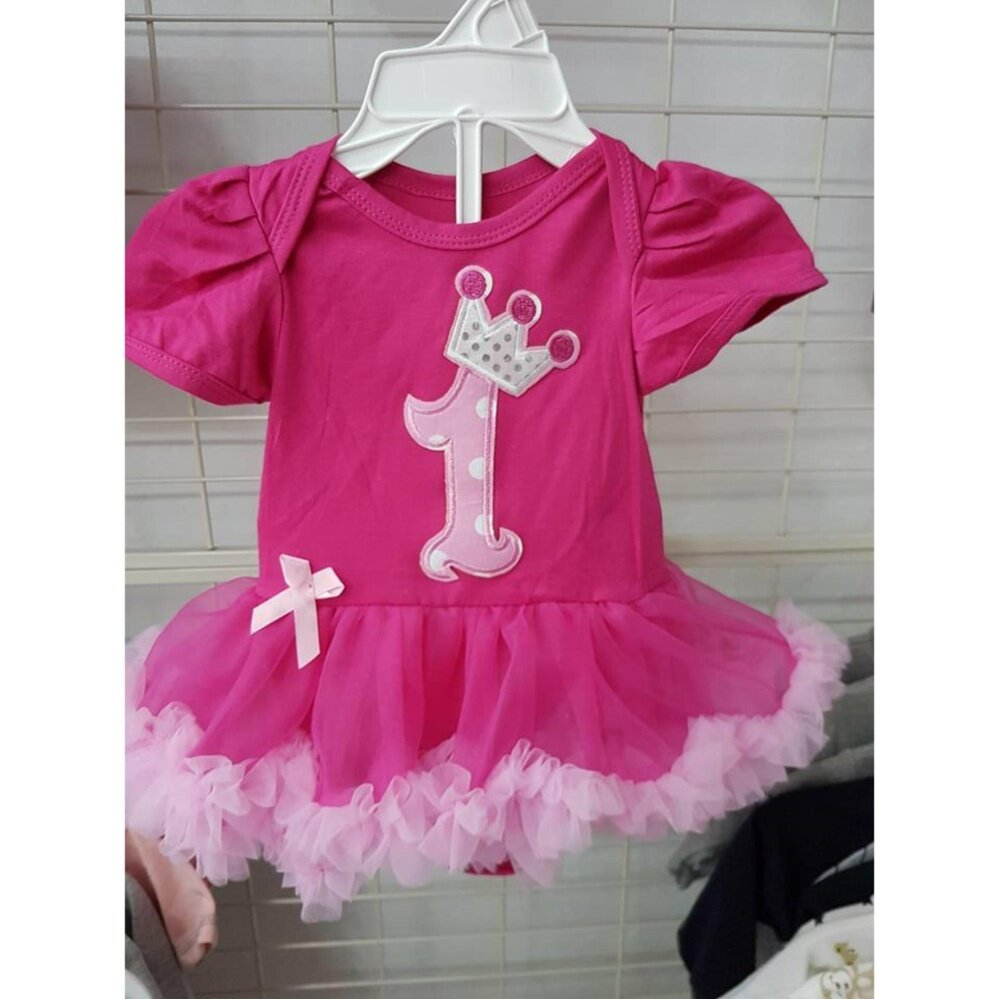 Baby Girl Tutu Dress (No.1 printed) - Pink