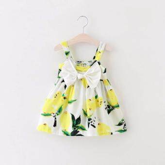 Baby Girls Lemon Dress Embroidered Lemon Floral with Bowknot(Yellow)