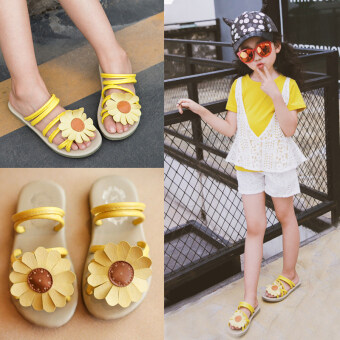 Baby girls slippers New style out small princess beach shoes (Ouma27 yards long 17 cm + Sunflower yellow sandals) (Ouma 27 yards long17 cm + Sunflower yellow sandals)