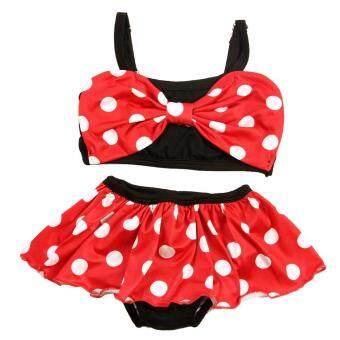 Baby Grils Summer Swimming Bikini Dot Printed Dress Suit Bathing Suit (Red)
