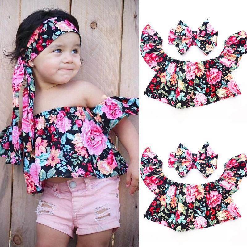 Anak Bayi Gadis Musim Panas Bunga Mati Bahu Atasan + Lucu Ikat Kepala 2 Pcs Set