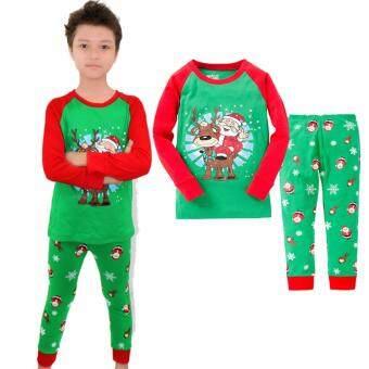 Anak Balita Bayi Anak Laki-laki Xmas Setelan Santa Klaus Baju Tidur Piyama Pakaian Tidur