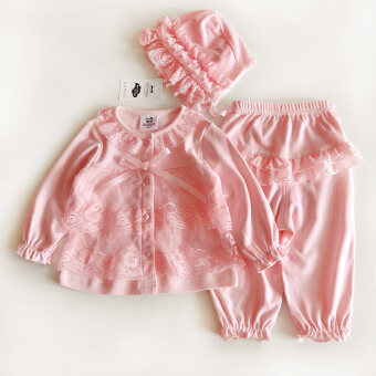 Baby summer female 0-1-year-old short-sleeved suit princess newborn children clothes summer thin section 3-6 a month baby Cotton