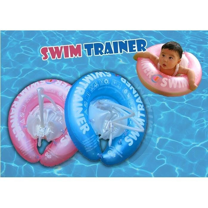 Baby Swim Ring Swimming Neck Fasten Pool Float Swim Trainer Inflatable Infant Kids Float Seat (Pink colour  no pump)