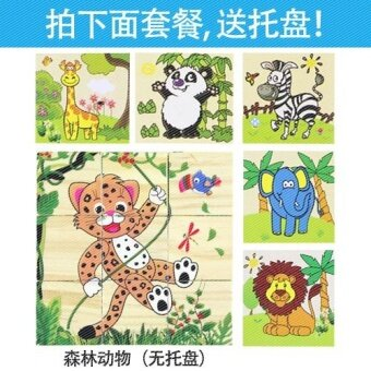 Baby wooden six face painting building blocks puzzle jigsaw puzzle