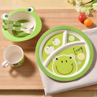 Bamboo child baby tableware plate set kids children dinnerware setdishes and plates sets feeding cup soup fork spoon utensils
