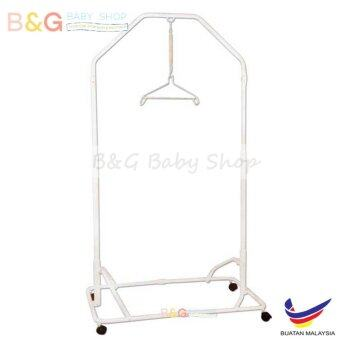 Harga B&G Baby Local Premium Baby Safety Spring Cot Stand (Epoxy)Side Steel Bar Support -White