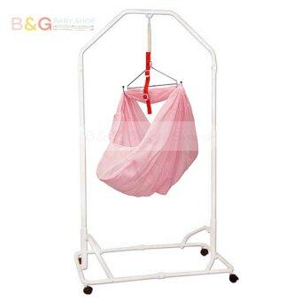 Harga B&G Baby Local Premium Baby Safety Spring Cot Stand(Epoxy) SideSteel Bar Support -White With Cradle Net (Random Color)