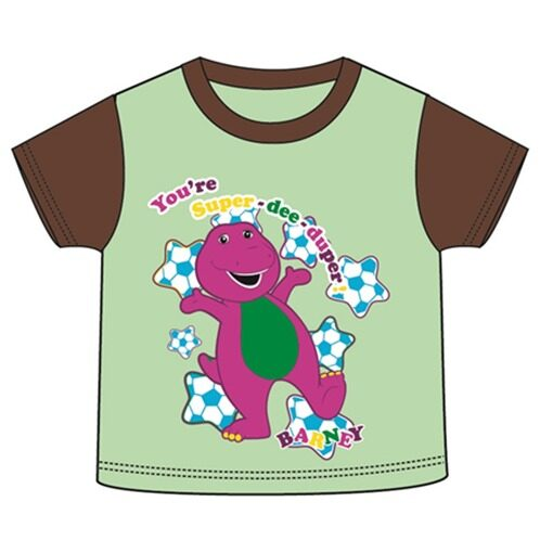 Barney Toddler Boy T-shirt 100% Cotton 1yrs to 3yrs - Green And Brown Colour