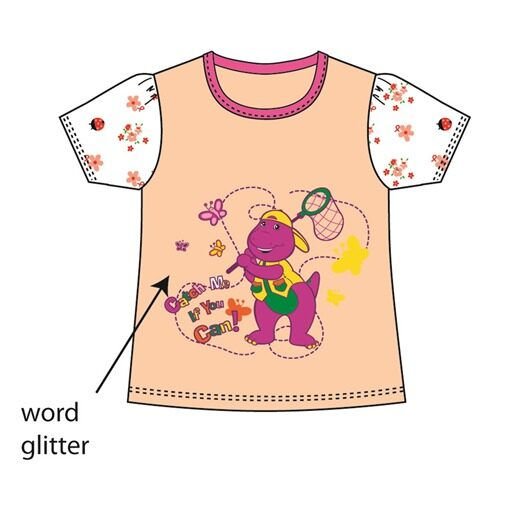 Barney Toddler Girl T-shirt 100% Cotton 1yrs to 3yrs - Peach Colour