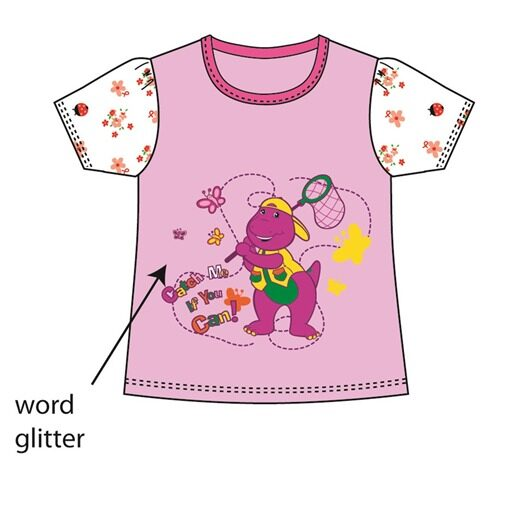 Barney Toddler Girl T-shirt 100% Cotton 1yrs to 3yrs - Purple Colour