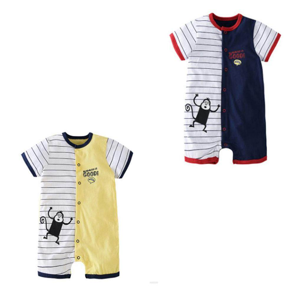 Bebini Cotton baby boy romper baby clothes boy newborn clothes summer kids short sleeve rompers monkey baby rompers White & Yellow 66 - intl