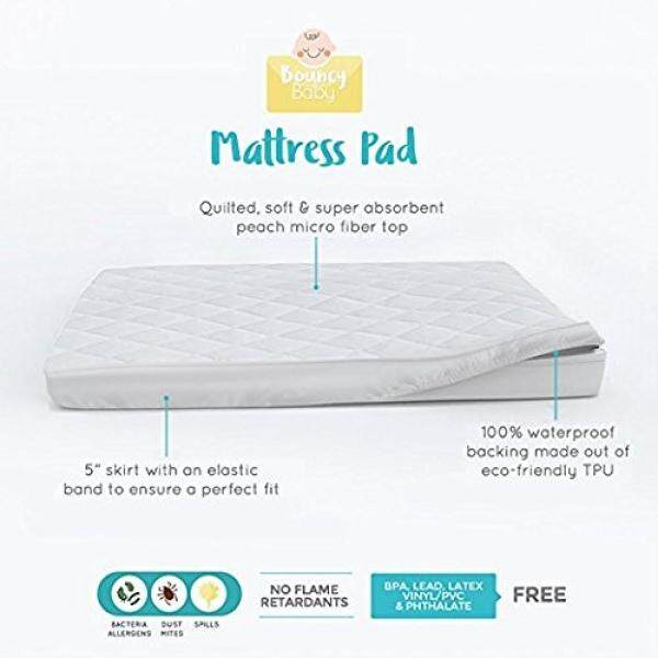 Bouncy Baby Pack N Play Mattress Cover - Hypoallergenic, Cushioned & Soft, Waterproof Crib Mattress Pad Cover - Perfectly Fits Mini & Portable Crib Mattresses without Shrinking - intl