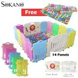 (RAYA 2019) BUNDLE: SOKANO 14 Panels Baby Safety Play Yard With Safety Door and Game Wall (12 Panels + 1 Game Wall + 1 Door)  + (180cm x 150cm) Double Side Waterproof Crawling Mat