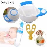 (RAYA 2019) BUNDLE: SOKANO Super Value Kid Food Preparation Grinding Dining Bowl, Silicone Squeeze Feeder Spoon (90ml) and Crushing Scissors - Blue