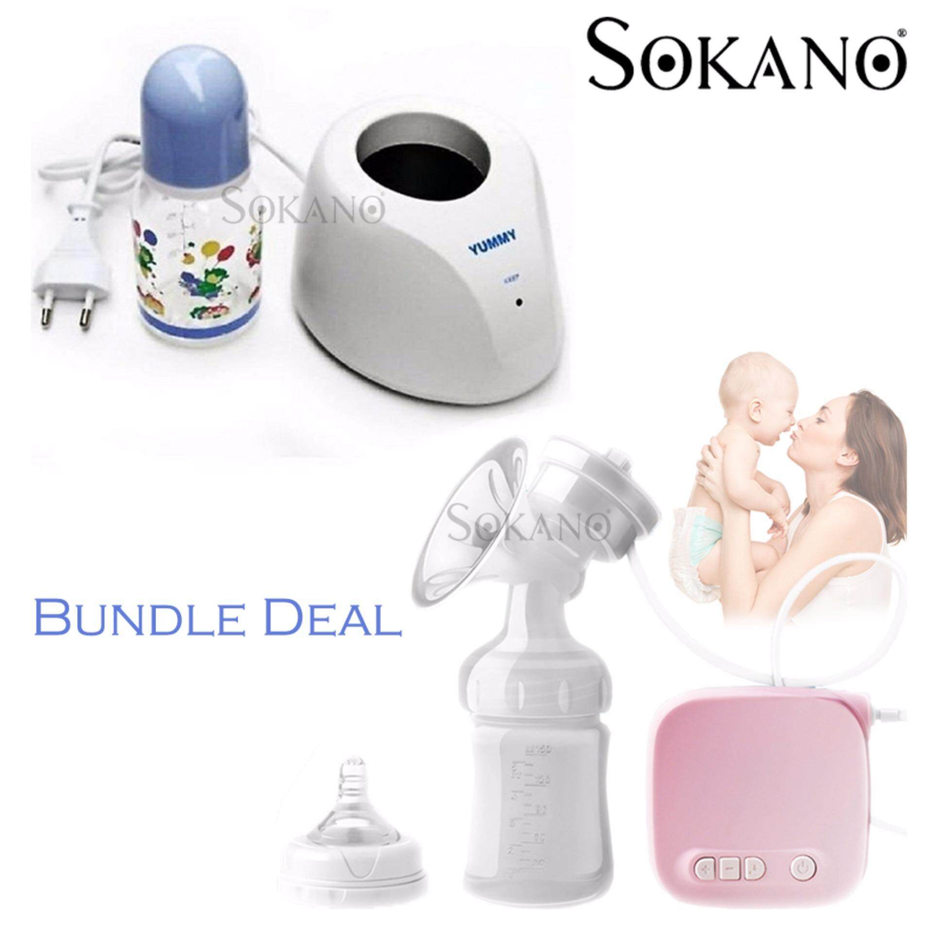 Bundle : SOKANO Yummy Milk Warmer with Free Milk Bottle + Advance Electric Breast Pumps - Super Suction & Massage