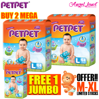 [Buy 2 Free 1] Petpet Tape Diaper Mega L64 (2Packs) + FOC Petpet Tape Diaper Jumbo pack L42