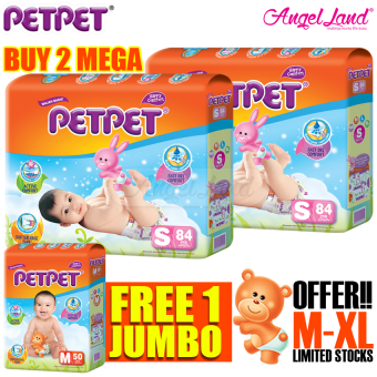 [Buy 2 Free 1] Petpet Tape Diaper Mega S84 (2Packs) + FOC PetpetTape Diaper Jumbo pack M50