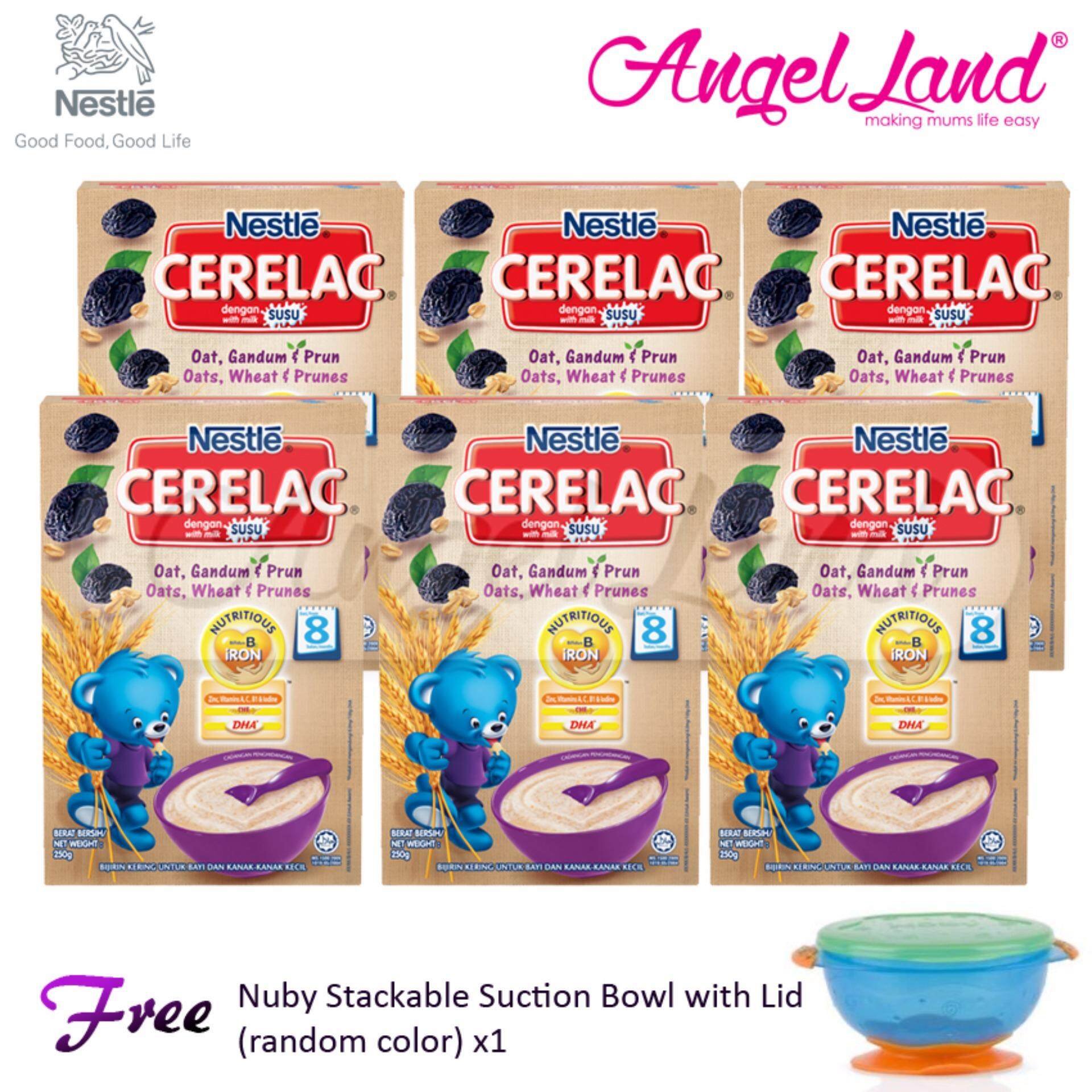 [Buy 6 Cerelac Free Bowl] Cerelac Oats, Wheat & Prunes 8m+ (250g) x6 + FOC 1 Nuby Stackable Suction Bowl (random)