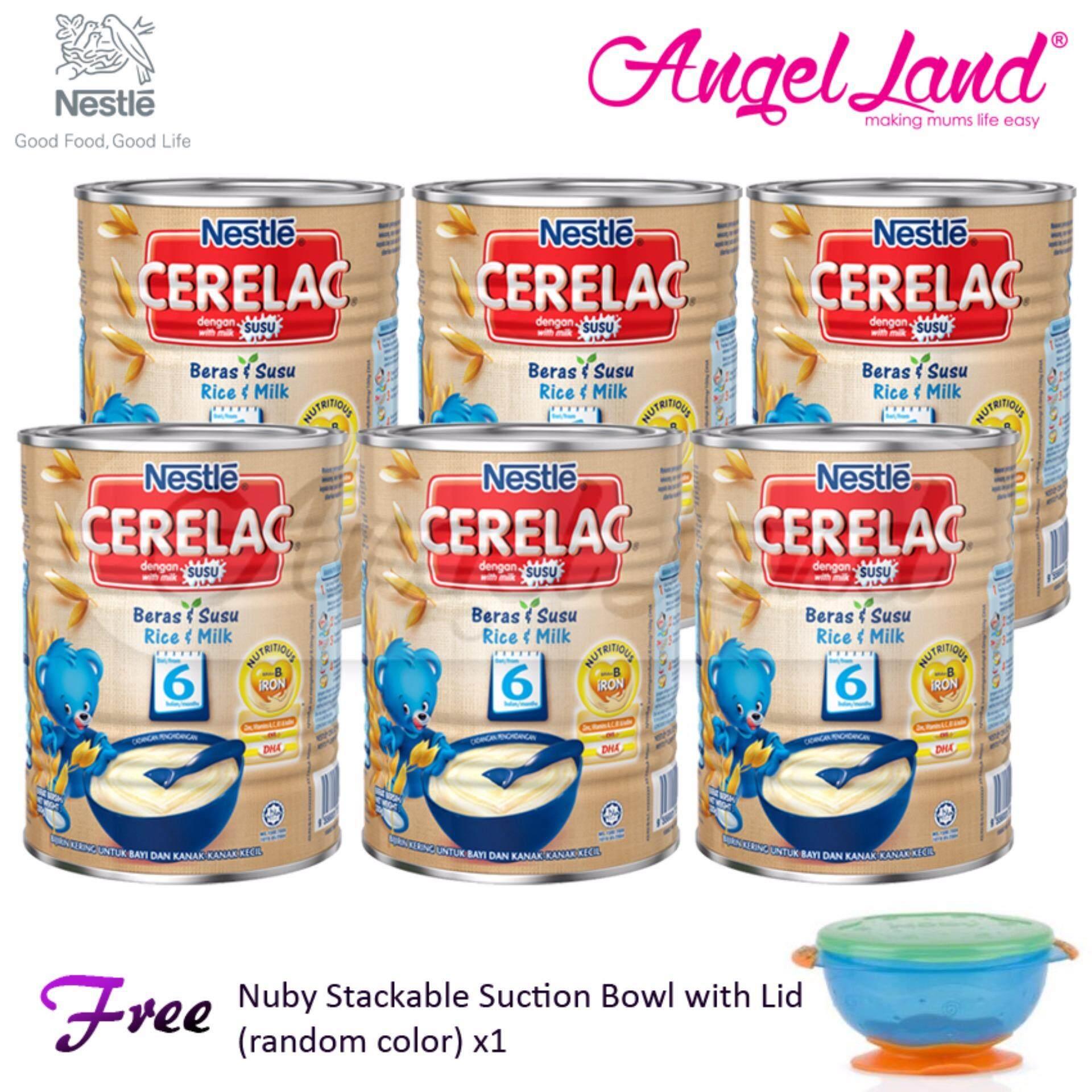 [Buy 6 Cerelac Free Bowl] Cerelac Rice & Milk 6m+ (350g) x6 + FOC 1 Nuby Stackable Suction Bowl (random)