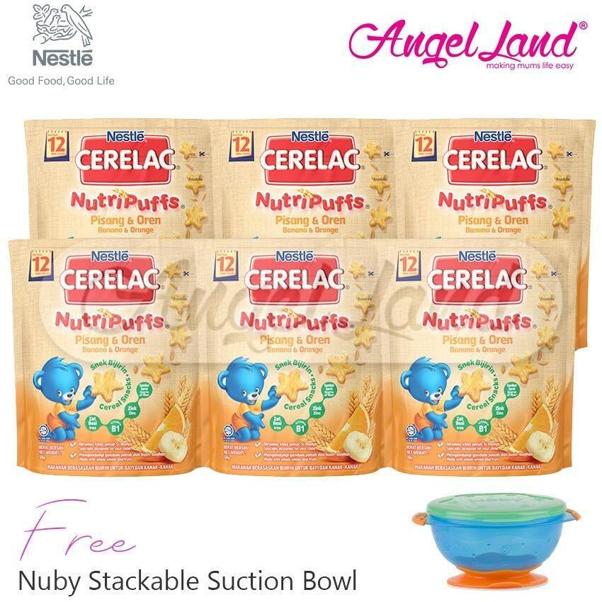 [Buy6FreeGift] Cerelac® NutriPuffs 12m+ (50g) Banana Orange(6packs) + FOC 1 Nuby Stackable Suction Bowl (random)