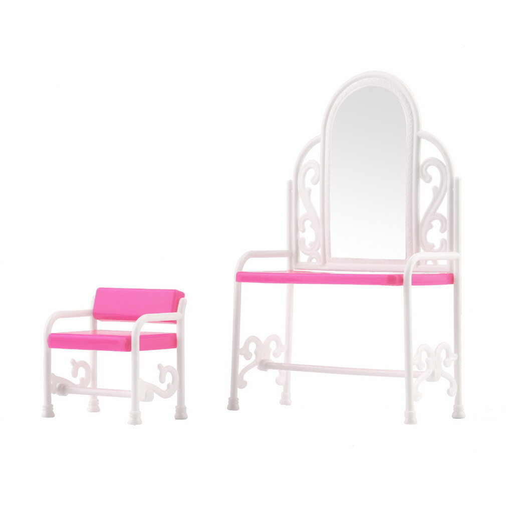 CHEER Dressing Table & Chair Accessories Set For Barbies Dolls Bedroom Furniture - intl