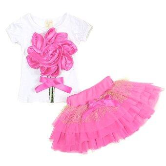 Cocotina 2pcs Kids Baby Girls Flower Short Sleeve T-shirt / TutuSkirt Casual Outfits (Pink)