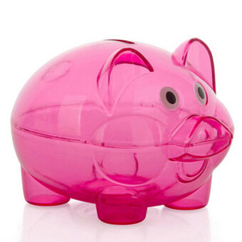 Cocotina Clear Lovely PIGGY Bank Coin Money Plastic Cash OpenableSaving Box Kid Pig Gift - Rose