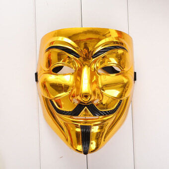 Harga Creative Gold/Silver V for Vendetta Guy Fawkes Mask AnonymousHalloween