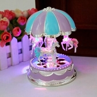Harga Crystal LED Light Merry-Go-Round Music Box Christmas Birthday GiftToy Carousel