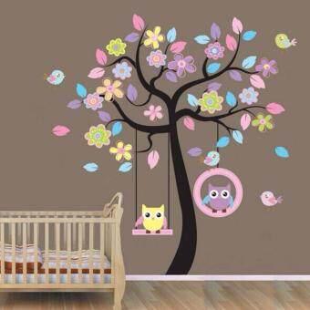 Cute Owl Flower Tree Wall Stickers Kids Nursery Room Decor Part 58