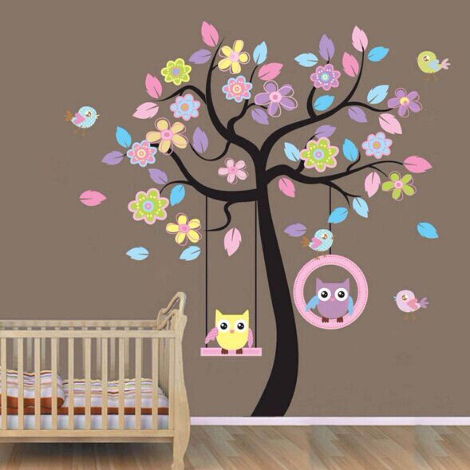 Cute Owl Flower Tree Wall Stickers Kids Nursery Room Decor | Lazada Malaysia Part 54