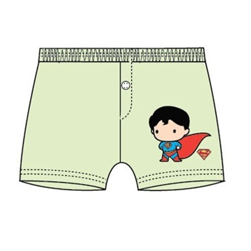 DC Comics Superman Short Pant 100% Cotton 4yrs to 12yrs - Green Colour (Buy One Free One)