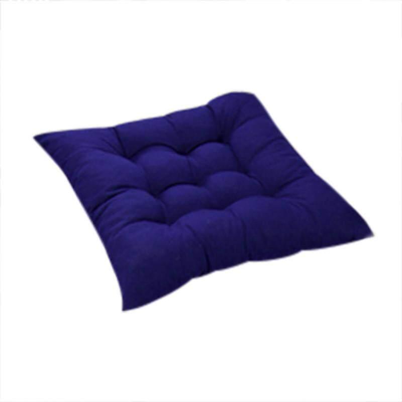 Diotem 11 Warna Solid Cotton Seat Bantalan Kursi Bantal Mat dengan Cord 40*40 Cm untuk Patio Rumah Mobil Sofa Kantor Tatami-Biru-Intl
