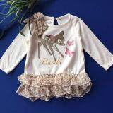 Disney Baby Girl Bambi Premium Romper Long Sleeves Chiffon Leopard Print Dress