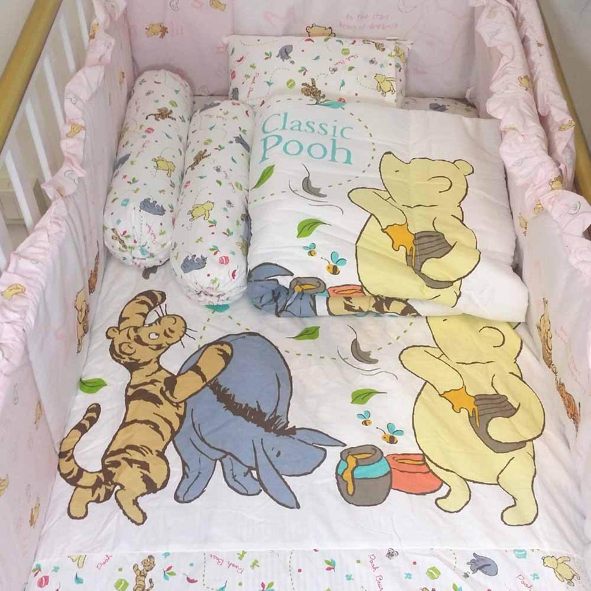 Disney Classic Pooh 5-in-1 Bedding Set c/w Comforter, Fitted Crib Sheet, Pillow and Bolster (CPST-205)