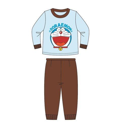 Doraemon Kids Homewear 100% Cotton 3yrs to 10yrs - Blue And Brown Colour