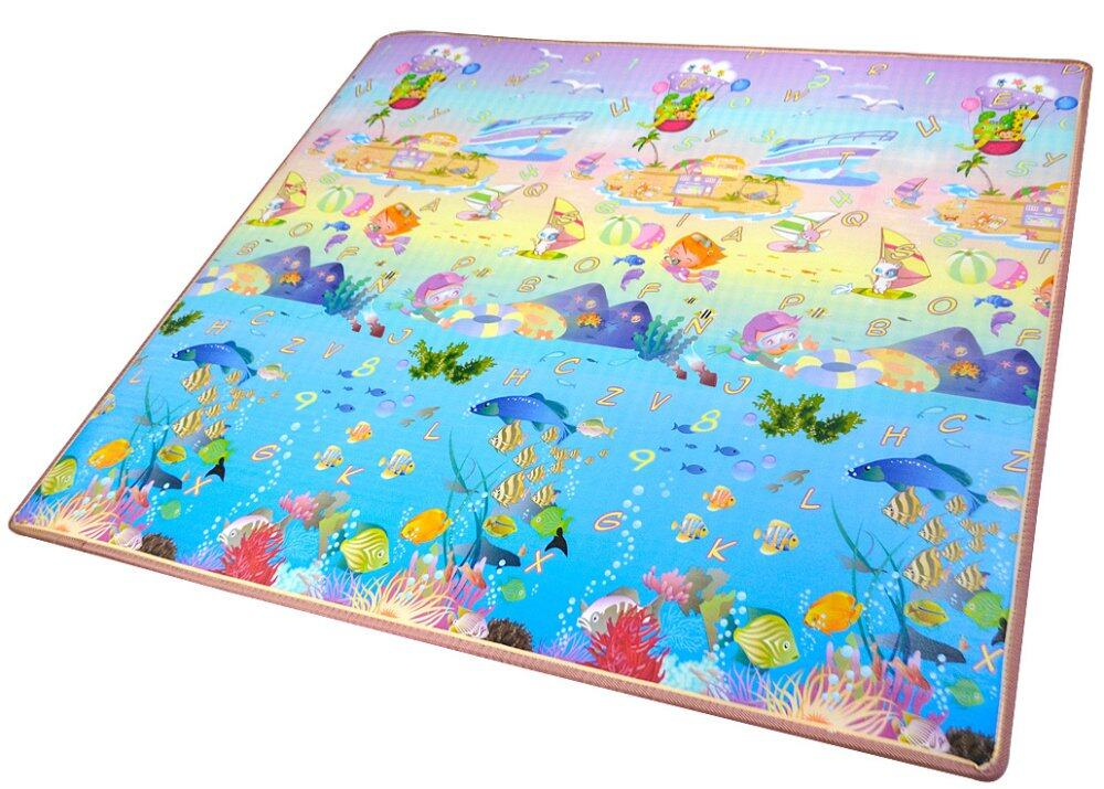 Double Sided Printed Toddler Crawling Mat With Educational Information (Ocean World and Zoo)