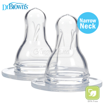 Harga Dr Brown?s Narrow Neck Silicone Nipple (Level 1) 0m+ (30487)