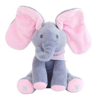 Efuture Peek A Boo Gajah Boneka Mainan Hewan Boneka Gajah Mewah Memainkan  Electric Pendidikan Musik Ulang d5af5dcd7e