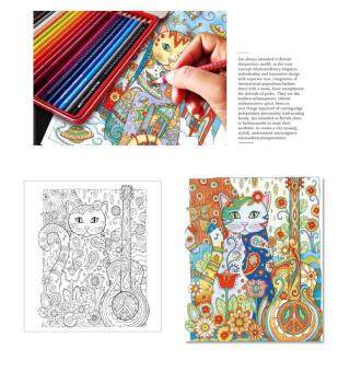 Detail Gambar Produk Fantastic Flower Creative Haven Cats Colouring Book For Adults Antistress Coloring Secret Garden Series Adult