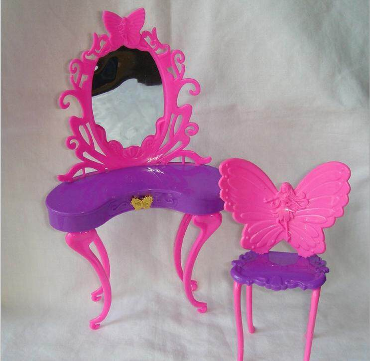 Modis Dressing Fairies Meja dan Kursi Set untuk Boneka Barbie Bedroom Furniture-Internasional