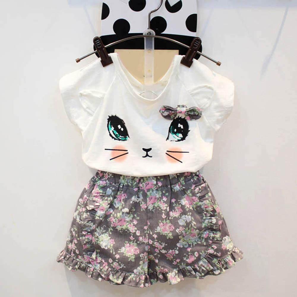 Modis Perempuan Lucu Kaus Kucing + Bunga Celana Pendek Set Pakaian Setelan- Putih-Internasional