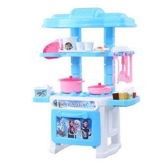 Fengsheng Kitchen Toys Pretend Play House Toys Kitchen Cooking Simulation Model Happy Kitchen Blue