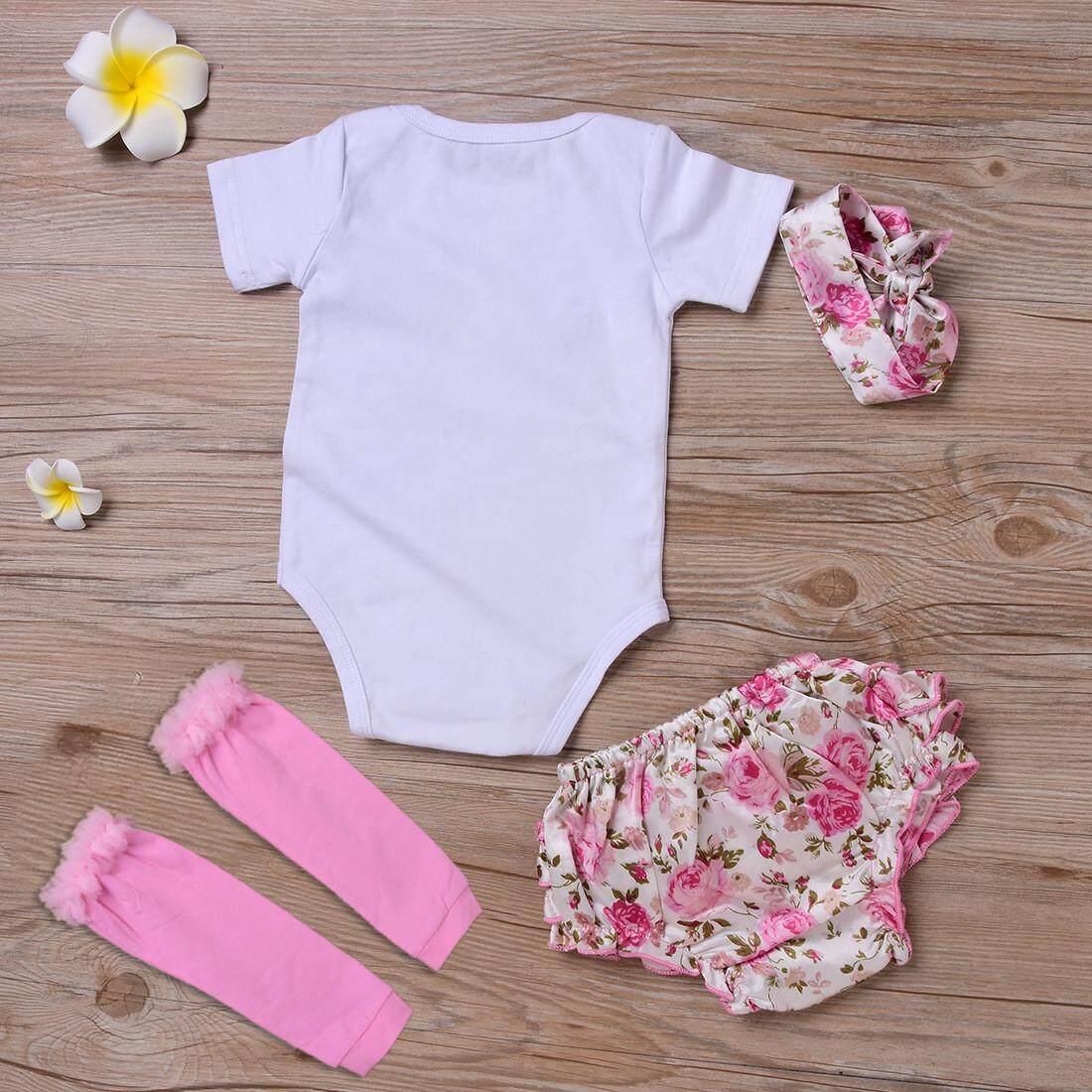 ... Empat Buah Bayi Surat Dicetak Bunga Busur Celana Setelan-Putih- Internasional - 4 ...